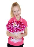 Beautiful blonde smiling girl with bouquet of Stock Images