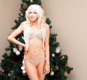Beautiful blonde Snow Maiden very sexy young woman in a silver suit and hood at the Christmas tree. New year, christmas, x-mas, ne. W year, winter Stock Photography