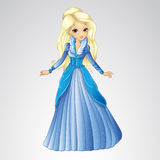 Beautiful Blonde Snow Queen. Vector illustration of fashion blonde snow queen in long blue dress Stock Photos