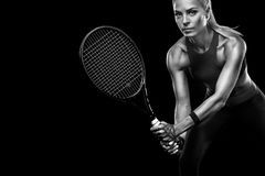 Beautiful blonde sport woman tennis player with racket in red costume royalty free stock photos