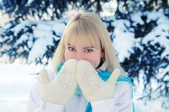 A beautiful blonde in sports clothes warms her nose. With warm mittens in the forest against the background of snow-covered fir tree Stock Image