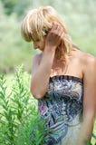Beautiful blonde in sundress Stock Image