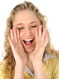 Beautiful Blonde Teen Yelling royalty free stock photos