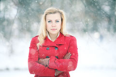 Beautiful blonde in a traditional Russian winter snow Stock Photos
