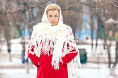 Beautiful blonde in a traditional Russian winter snow Royalty Free Stock Images