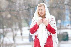 Beautiful blonde in a traditional Russian winter snow Stock Photo