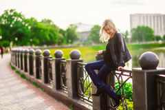 Beautiful blonde with unbuttoned jacket Royalty Free Stock Photos