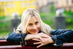 Beautiful blonde with unbuttoned jacket Royalty Free Stock Photography