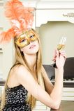 Beautiful blonde in a venetian mask Royalty Free Stock Photos