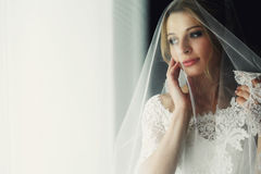 Beautiful blonde wedding bride in make-up and veil in a white dr Royalty Free Stock Images