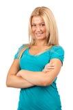 Beautiful blonde on white Stock Image