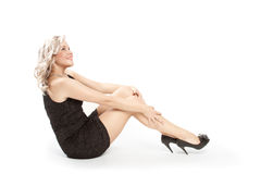 Beautiful blonde on a white backgroud Royalty Free Stock Image
