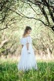 Beautiful blonde in white dress Royalty Free Stock Image