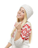 Beautiful blonde in winter clothes stock photo