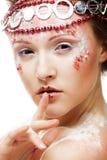 Beautiful blonde winter snow queen. Portrait of beautiful blonde winter snow queen Royalty Free Stock Photography