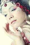 Beautiful blonde winter snow queen. Portrait of beautiful blonde winter snow queen Stock Photo