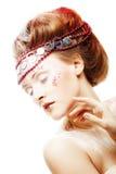 Beautiful blonde winter snow queen. Portrait of beautiful blonde winter snow queen Royalty Free Stock Photo