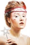 Beautiful blonde winter snow queen. Portrait of beautiful blonde winter snow queen Stock Photography
