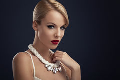 Beautiful blonde wit the necklace Stock Image