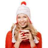 Beautiful blonde woman with an aromatic hot coffee in hands. Royalty Free Stock Images