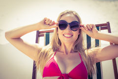 beautiful blonde woman at the beach Royalty Free Stock Photography