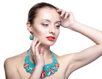 Beautiful blonde woman in bijouterie collar Royalty Free Stock Photography