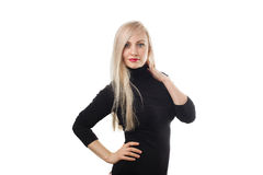 Beautiful blonde woman in black pullover stock photo