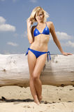 Beautiful blonde woman in blue bikini Royalty Free Stock Image