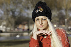Beautiful blonde woman with blue eyes Royalty Free Stock Photography