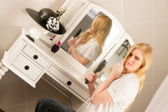 Beautiful Blonde Woman Brushing Hair Bedroom Royalty Free Stock Photo