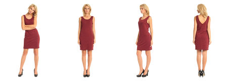 Beautiful blonde woman in burgundy dress isolated on white Royalty Free Stock Photography