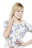 Beautiful blonde woman in casual attire Stock Photo