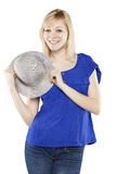Beautiful blonde woman in casual attire with hat. Against white background Royalty Free Stock Photography