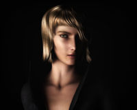 Beautiful Blonde Woman in Chiaroscuro Style Light. Digital illustration portrait of a beautiful, young blond woman in a classic chiaroscuro lighting style Stock Photo
