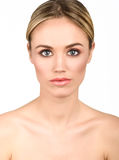 Beautiful blonde woman with clean fresh skin close up Stock Image