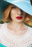 Beautiful blonde woman with curly short bob hairstyle, delicate Royalty Free Stock Photography