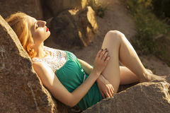 Beautiful blonde woman with curly short bob hairstyle, delicate Stock Image