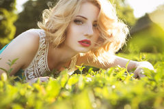 Beautiful blonde woman with curly short bob hairstyle, delicate Royalty Free Stock Images