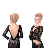 Beautiful blonde woman in elegant black low cut back evening dress with updo hairstyle. Front and back view isolated on Royalty Free Stock Photography