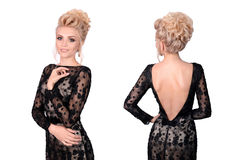 Beautiful blonde woman in elegant black low cut evening dress with updo hairstyle. Front and back view isolated on white Royalty Free Stock Image