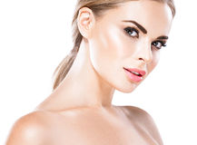 Beautiful blonde woman face close up portrait studio on white Royalty Free Stock Photography