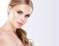 Beautiful blonde woman face close up portrait studio on white Royalty Free Stock Photos