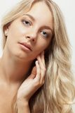 Beautiful blonde woman face portrait Royalty Free Stock Images