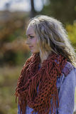 Beautiful blonde woman. On fall sunny day Royalty Free Stock Photography