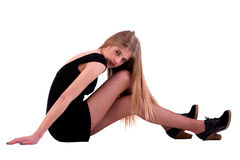 Beautiful blonde woman on the floor Royalty Free Stock Photos