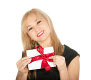 Beautiful blonde woman and gift postcard in her hands. feast day of St. Valentine Stock Images