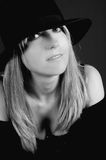 Beautiful blonde woman with hat Stock Photo