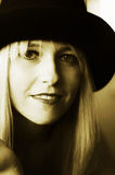 Beautiful blonde woman with hat. Beautiful smiling blonde woman with hat. Fashion art photo Stock Photos