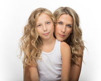 Beautiful blonde woman and her daughter together Stock Photography