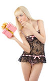 Beautiful blonde woman holding gift box Stock Photo